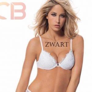 Italiaanse lingerie, push-up gel beha, kleur ZWART, Maat 80B