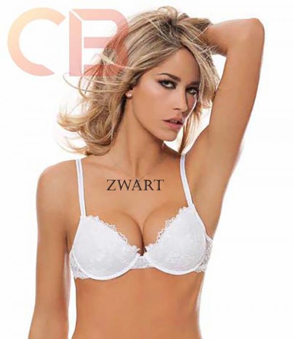 Italiaanse lingerie, push-up beha met kussens, ZWART, Maat 80B