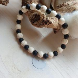 Heren edelsteen armband van Onyx en Howliet